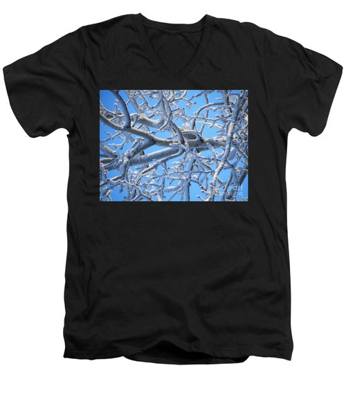 Bifurcations In White And Blue Men's V-Neck T-Shirt by Brian Boyle