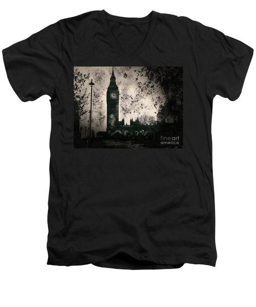 Big Ben Black And White Men's V-Neck T-Shirt