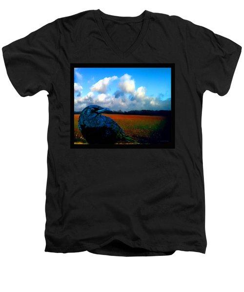 Big Daddy Crow Series Silent Watcher Men's V-Neck T-Shirt by Lesa Fine