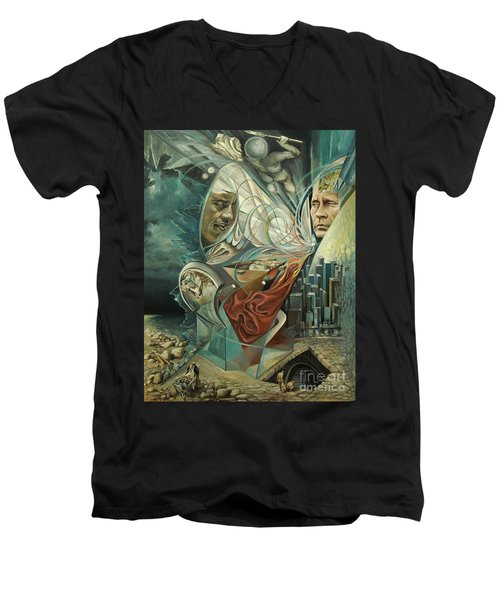 Men's V-Neck T-Shirt featuring the painting Big Game Or Silence Is Gold by Mikhail Savchenko