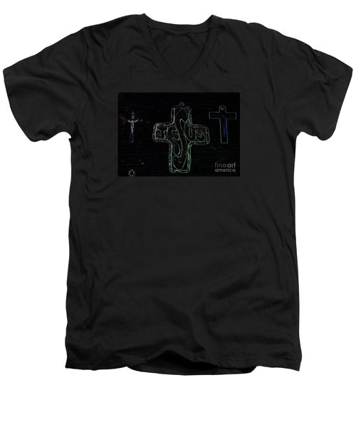 Men's V-Neck T-Shirt featuring the photograph Big Jesus by Tina M Wenger