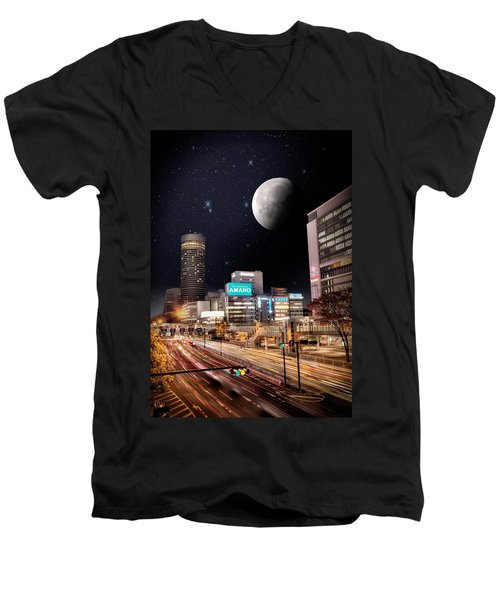 Big Moon Yokohama Men's V-Neck T-Shirt by John Swartz