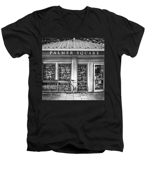 Bike At Palmer Square Book Store In Princeton Men's V-Neck T-Shirt by Ben and Raisa Gertsberg