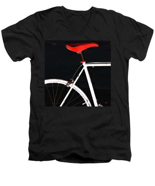 Bike In Black White And Red No 1 Men's V-Neck T-Shirt by Ben and Raisa Gertsberg