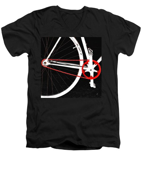 Bike In Black White And Red No 2 Men's V-Neck T-Shirt by Ben and Raisa Gertsberg