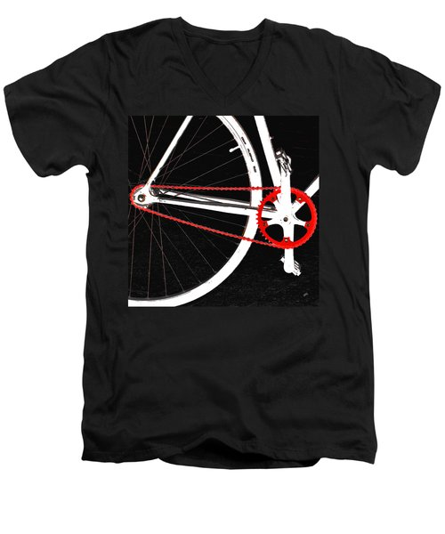 Bike In Black White And Red No 2 Men's V-Neck T-Shirt