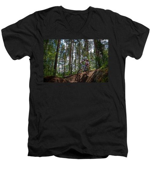Biker On Trail Men's V-Neck T-Shirt