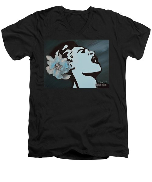 Billie Holiday Men's V-Neck T-Shirt by Alys Caviness-Gober