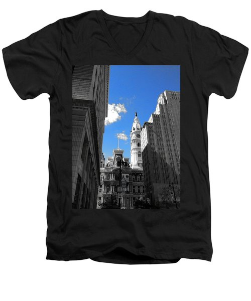 Men's V-Neck T-Shirt featuring the photograph Billy Penn Blue by Photographic Arts And Design Studio