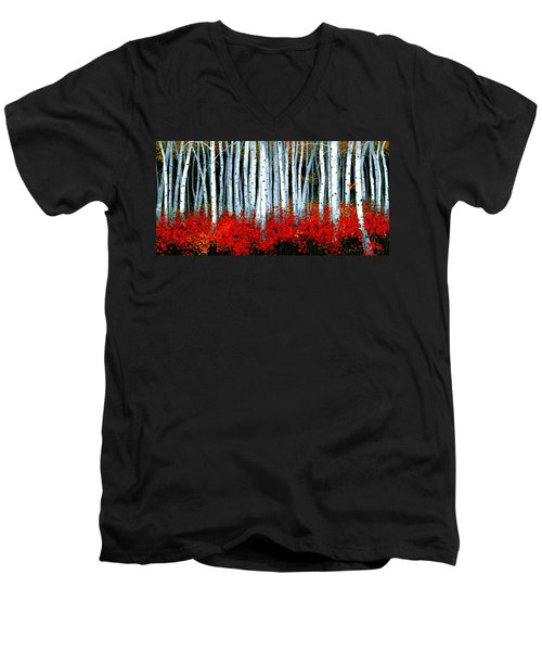 Men's V-Neck T-Shirt featuring the painting Birch 24 X 48  by Michael Swanson