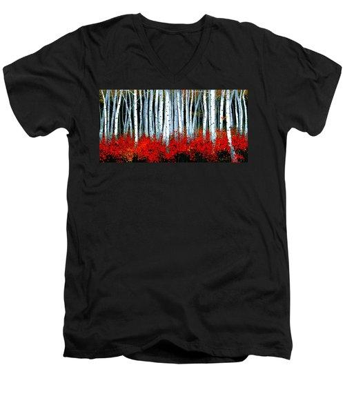 Birch 24 X 48  Men's V-Neck T-Shirt by Michael Swanson