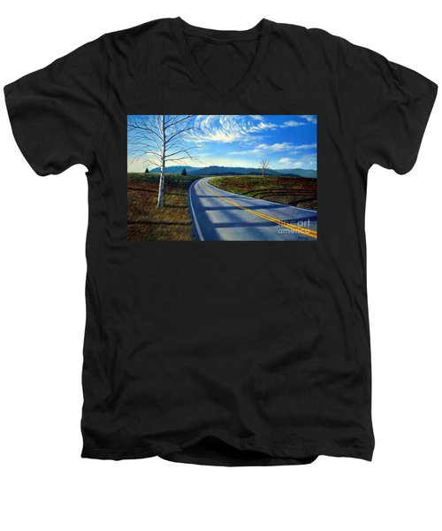 Birch Tree Along The Road Men's V-Neck T-Shirt