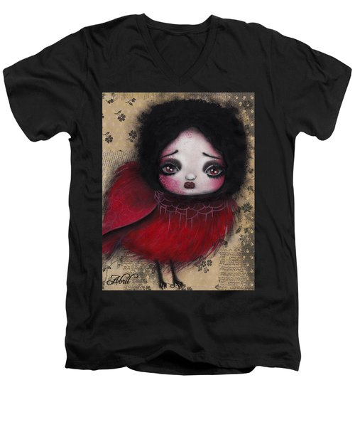 Bird Girl #1 Men's V-Neck T-Shirt by Abril Andrade Griffith