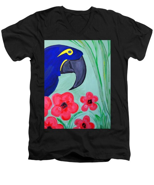 Men's V-Neck T-Shirt featuring the painting Bird In Paradise   by Nora Shepley