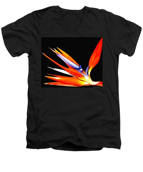 Men's V-Neck T-Shirt featuring the photograph Bird Of Paradise Flower With Oil Painting Effect by Rose Santuci-Sofranko
