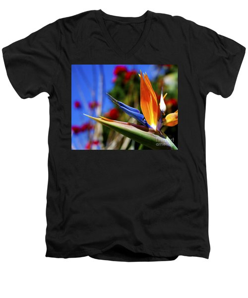 Men's V-Neck T-Shirt featuring the photograph Bird Of Paradise Open For All To See by Jerry Cowart
