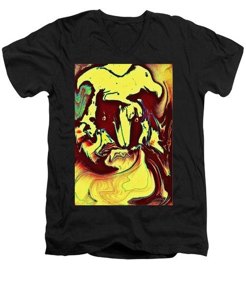 Bird On Head Men's V-Neck T-Shirt by Jason Lees