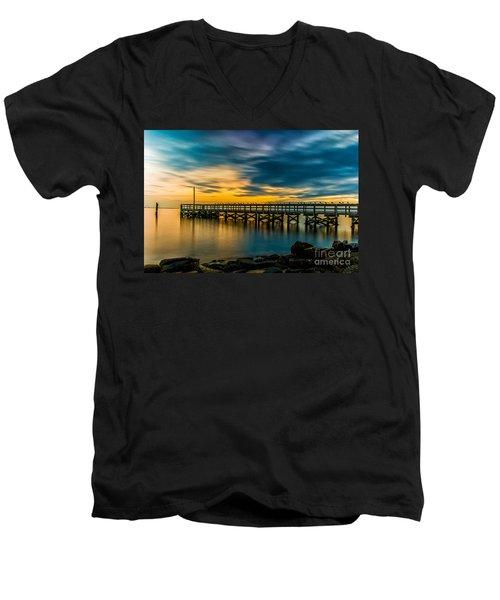 Birds On The Dock Men's V-Neck T-Shirt