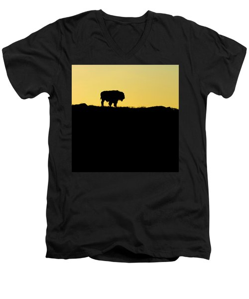 Men's V-Neck T-Shirt featuring the photograph Bison Sunrise by Sonya Lang