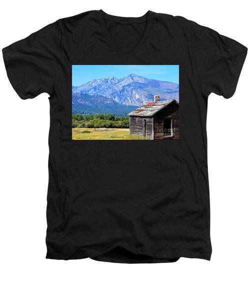 Men's V-Neck T-Shirt featuring the photograph Bitterroot Valley Cabin by Joseph J Stevens