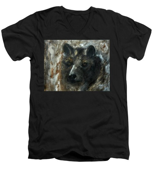 Men's V-Neck T-Shirt featuring the painting Bjomolf - Bear Wolf by Barbie Batson