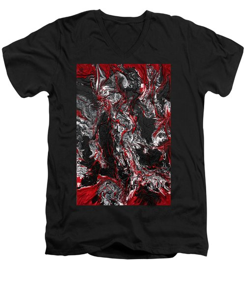 Black And White And Red All Over Men's V-Neck T-Shirt