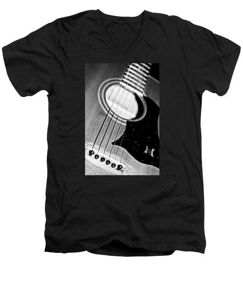 Black And White Harmony Guitar Men's V-Neck T-Shirt by Athena Mckinzie