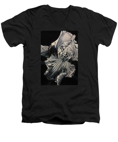 Men's V-Neck T-Shirt featuring the drawing Black And White Iris Study by Bruce Bley