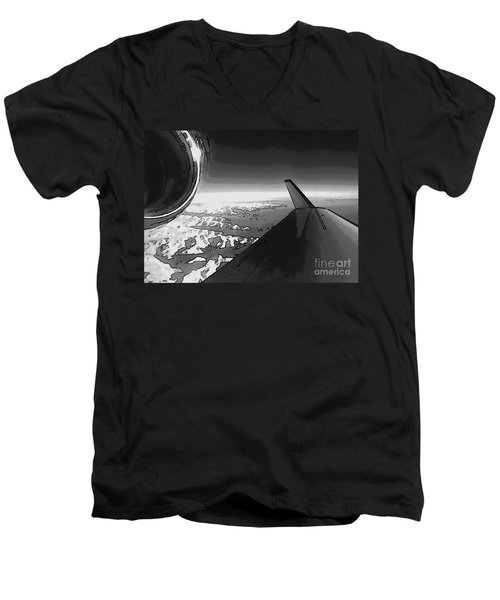 Men's V-Neck T-Shirt featuring the photograph Jet Pop Art Plane Black And White  by R Muirhead Art