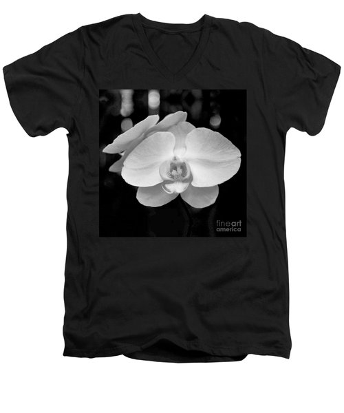 Black And White Orchid With Lights - Square Men's V-Neck T-Shirt by Heather Kirk