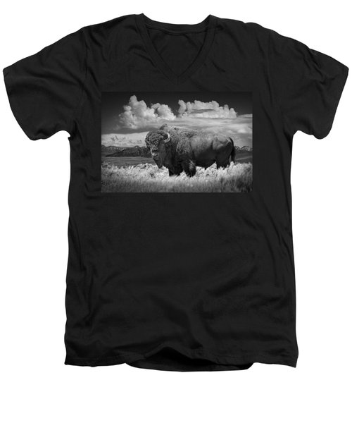Black And White Photograph Of An American Buffalo Men's V-Neck T-Shirt