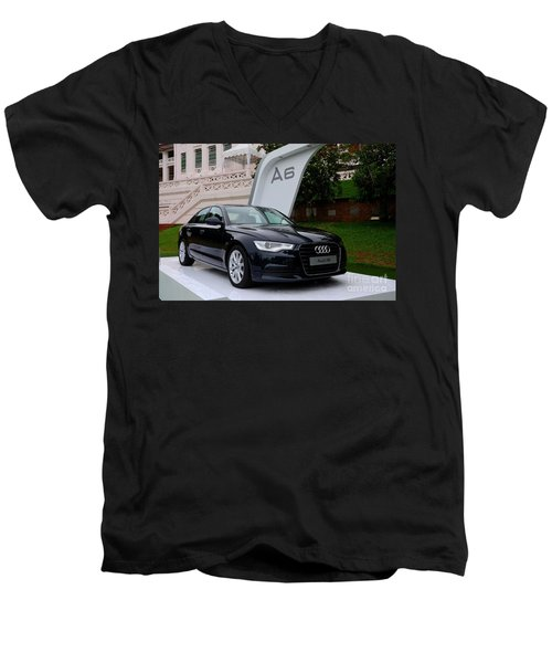 Black Audi A6 Classic Saloon Car Men's V-Neck T-Shirt