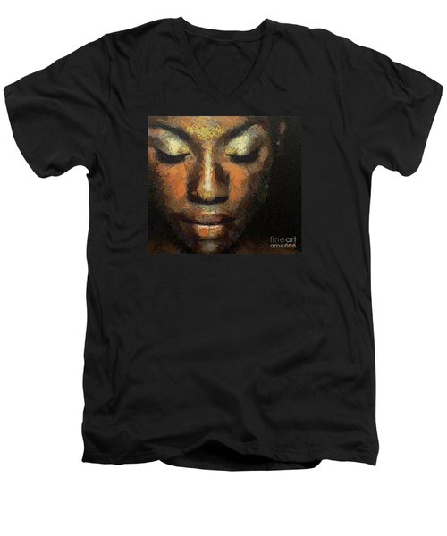 Men's V-Neck T-Shirt featuring the painting Black Beauty by Dragica  Micki Fortuna