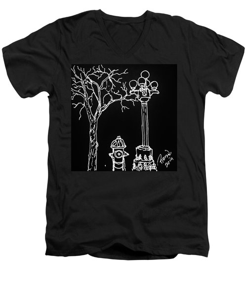 Men's V-Neck T-Shirt featuring the drawing Black Book 08 by Rand Swift