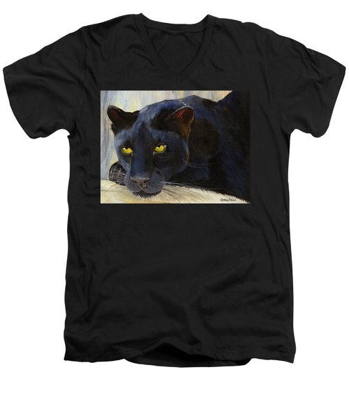Black Cat Men's V-Neck T-Shirt by Jamie Frier