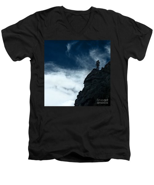 Men's V-Neck T-Shirt featuring the photograph Black Cliff by Dana DiPasquale