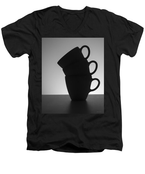 Men's V-Neck T-Shirt featuring the photograph Black Coffee Cups by Steven Milner