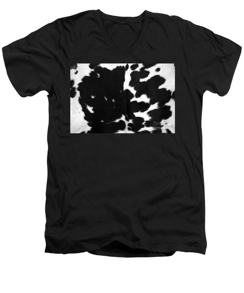 Men's V-Neck T-Shirt featuring the photograph Black Cowhide by Gunter Nezhoda