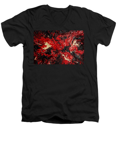 Black Cracks With Red Men's V-Neck T-Shirt
