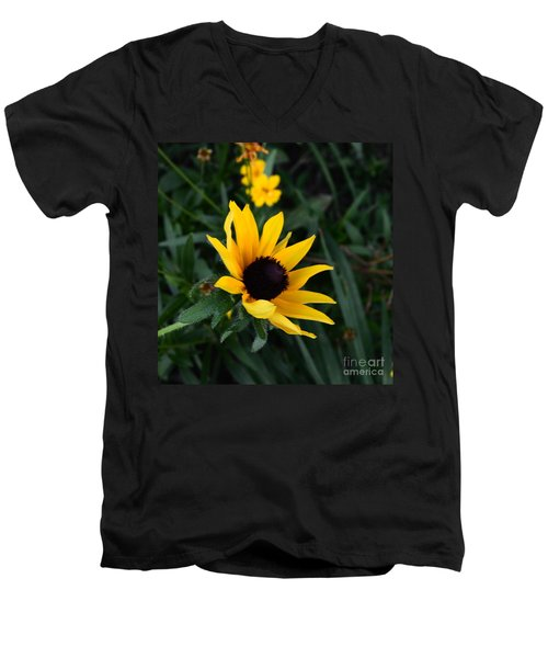 Men's V-Neck T-Shirt featuring the photograph Black-eyed Susan Glows With Cheer by Luther Fine Art