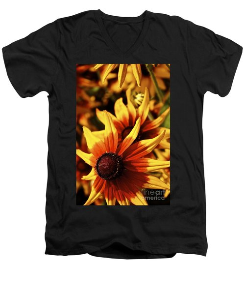 Men's V-Neck T-Shirt featuring the photograph Black Eyed Susan by Linda Bianic