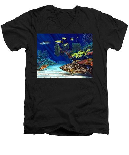 Black Grouper Reef Men's V-Neck T-Shirt by Steve Ozment