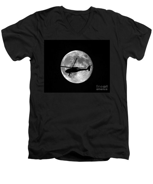 Black Hawk Moon Men's V-Neck T-Shirt