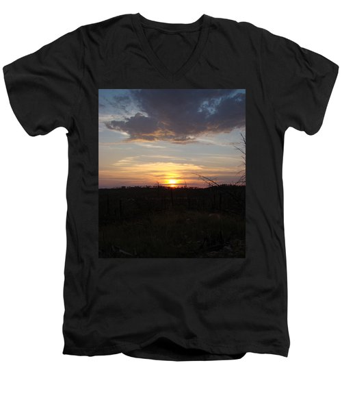 Men's V-Neck T-Shirt featuring the photograph Black Hills Sunset IIi by Cathy Anderson