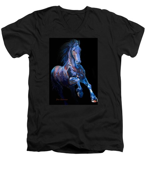 Black Horse In Black Men's V-Neck T-Shirt by J- J- Espinoza