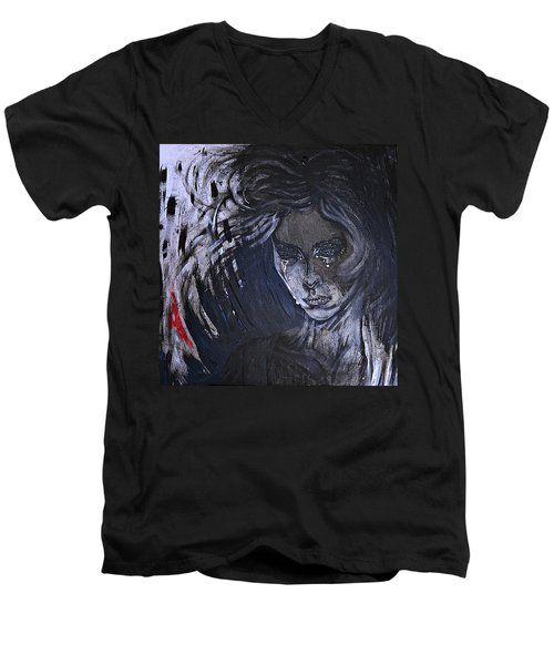 Men's V-Neck T-Shirt featuring the painting black portrait 16 Juliette by Sandro Ramani