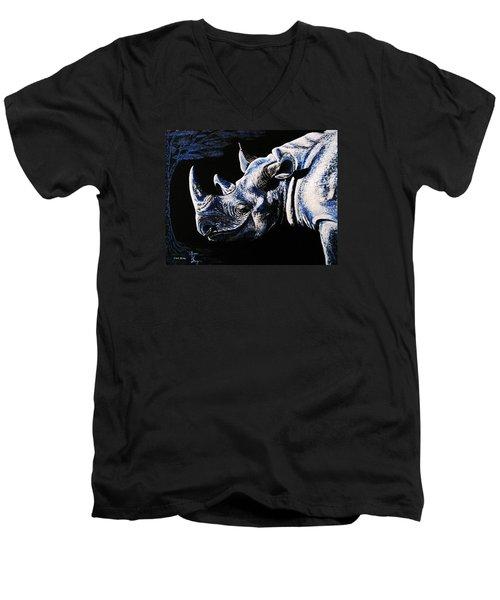 Men's V-Neck T-Shirt featuring the painting Black Rino by Viktor Lazarev
