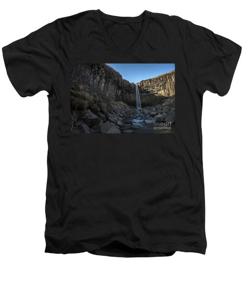 Men's V-Neck T-Shirt featuring the photograph Black Waterfall by Gunnar Orn Arnason