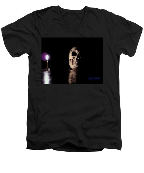 Men's V-Neck T-Shirt featuring the photograph Blackbeard's Skull by Mark Blauhoefer