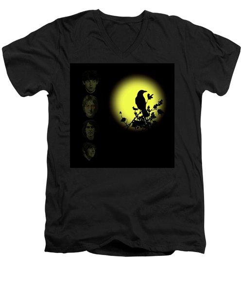 Blackbird Singing In The Dead Of Night Men's V-Neck T-Shirt by David Dehner